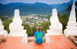 Man on the Mae Hon Song view Royalty Free Stock Image