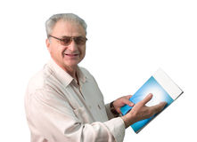 Man with magazine. White man over white background with magazine in hands stock photo
