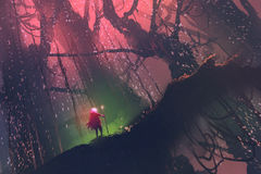 Man with magic pole walking on giant tree in enchanted forest. Illustration painting stock illustration