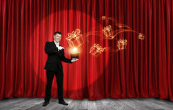 Man magician with cylinder hat Royalty Free Stock Images