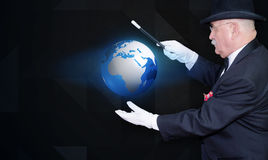 Man magician enhancing tiny planet Royalty Free Stock Photography