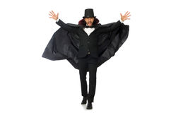 The man magician isolated on white Royalty Free Stock Photos