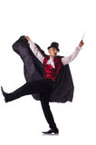 The man magician isolated on white Stock Photo