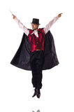The man magician isolated on white Royalty Free Stock Photography