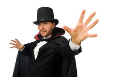 The man magician isolated on white Stock Images