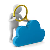 Man with magnifier and cloud on white background Stock Photos