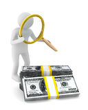 Man with magnifier and dollars Stock Image