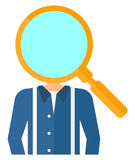 Man with magnifier instead of head Royalty Free Stock Images