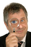 Man with magnifier Stock Photo