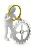 Man with magnifier on white background Stock Photography