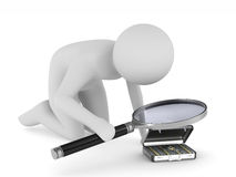Man with magnifier on white background. Isolated 3D Royalty Free Stock Image