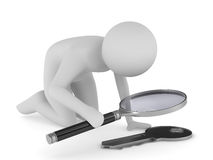 Man with magnifier on white background Royalty Free Stock Photography
