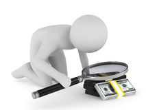 Man with magnifier on white background Stock Photos