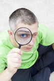 Man with magnify glass stock photo