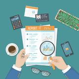Man with magnifying glass analyzes report, paper document with graphs and diagrams. Research, planning, analysis. View from above Vector Royalty Free Stock Images
