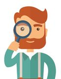 Man with the magnifying glass. A man with beard holding while looking through a magnifying glass to figure out his business. Vector flat design illustration Royalty Free Stock Photography