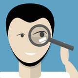 Man with magnifying glass. Stock Photography