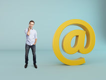 Man with mail sign Royalty Free Stock Photography