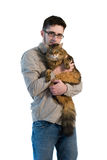 Man with maine coon cat Royalty Free Stock Photography
