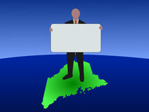 Man on Maine map Royalty Free Stock Image