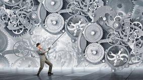 Man make gears mechanism work Stock Photography
