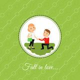 Man make a proposal to marry. Valintines day card template with green background. Vector illustration Stock Image