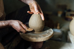 The man make vase from clay Stock Photo
