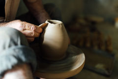 The man make vase from clay Stock Photography
