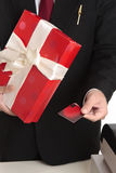 Man makes a Christmas purchase Stock Photography