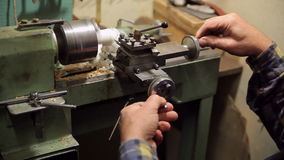 Man makes detail on lathe stock video footage