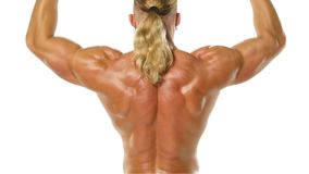 Man makes exercises dumbbells. Sport, power, stock video footage
