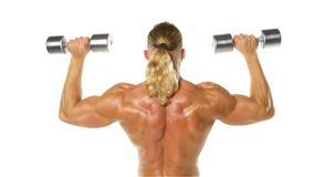 Man makes exercises dumbbells. Sport, power, stock footage