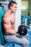 Man makes exercises dumbbells Royalty Free Stock Photography