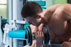 Man makes exercises dumbbells. Sport, power, dumbbells, tension, exercise. Article about fitness and sports.Gym and fitness concept - bodybuilder and dumbbell stock image