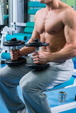 Man makes exercises dumbbells. Sport, power, dumbbells, tension, exercise. Article about fitness and sports.Gym and fitness concept - bodybuilder and dumbbell royalty free stock photo