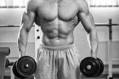Man makes exercises dumbbells. Sport, power, dumbbells, tension, exercise. Article about fitness and sports.Gym and fitness concept - bodybuilder and dumbbell royalty free stock photos