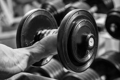 Man makes exercises. Man at the gym. Man makes exercises. Sport, power, dumbbells, tension, exercise - the concept of a healthy lifestyle. Article about fitness Royalty Free Stock Photos