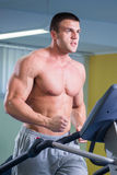 Man makes exercises. Man at the gym. Man makes exercises. Sport, power, dumbbells, tension, exercise - the concept of a healthy lifestyle. Article about fitness Stock Image