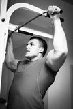 Man makes exercises Royalty Free Stock Photography