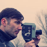 Man makes filming Royalty Free Stock Photo