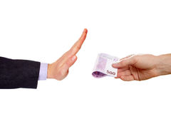Man makes gesture Stop against money Royalty Free Stock Photography