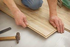 Man makes laying laminated panels oak styles Stock Image