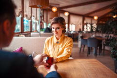 Man makes marriage proposal to beautiful woman Royalty Free Stock Image