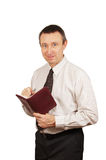 Man makes notes in a diary Royalty Free Stock Photo