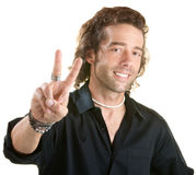 Man Makes Peace Sign Stock Photos