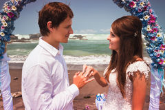 Man makes a proposal to his girlfriend Royalty Free Stock Image