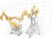 Man makes stock chart. 3D man standing on a ladder and sets the golden exchange candlestick from the pushcart vector illustration