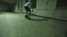 Man makes a trick on a skateboard stock video
