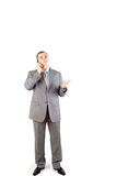 Man Making A Phone Call Isolated On White Backgrou Royalty Free Stock Images