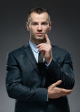 Man making attention gesture Stock Photos